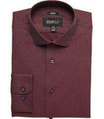 awearness kenneth cole burgundy stripe slim fit dress shirt