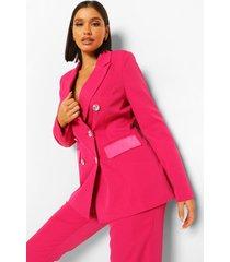 getailleerde blazer met knopen met steentjes, hot pink
