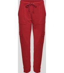 calça de moletom feminina cargo cintura alta vermelho escuro