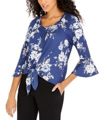bcx juniors' bell-sleeve tie-front top