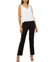 bcbgmaxazria cotton tie-strap eyelet top