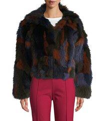 colorblock fox fur jacket