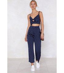 womens polka dot bralette and pants set with tie closure - navy