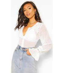 dobby mesh blouse with oversized applique collar, white