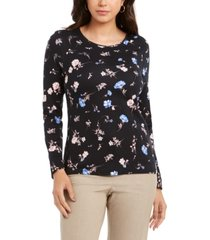 charter club oma cotton ditsy-print top, created for macy's