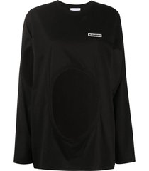 black cut-out crewneck top