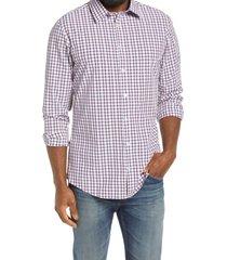 men's mizzen+main leeward trim fit check button-up performance shirt, size xx-large - blue