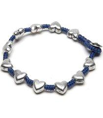 pulsera de mujer plateada azul 1 giro love vestopazzo