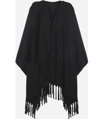 saint laurent cashmere poncho with all-over fringes