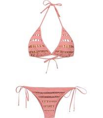 amir slama embroidered bikini - pink