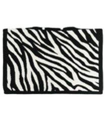 ami amalia fronha de tricô e lã merino com estampa de zebra - preto