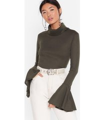 womens as if we'd flare turtleneck ribbed top - khaki