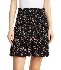 ganni women's floral georgette ruffled mini skirt - heather - size 40 (8)