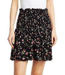 ganni women's floral georgette ruffled mini skirt - heather - size 40 (8)