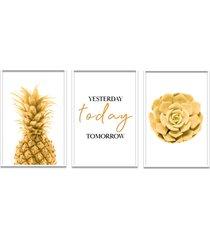 quadro 60x120cm abacaxi dourado com frase- decorativo moldura branca - tricae