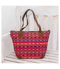 leather accent cotton shoulder bag, 'scarlet maya' (guatemala)