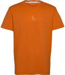 ck sliced back graphic tee t-shirts short-sleeved orange calvin klein jeans