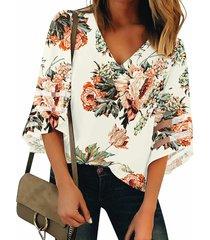 blusa de costura con cuello en v y estampado floral blanco