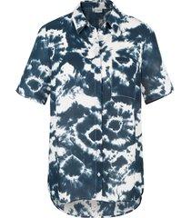 blouse miamoda blauw::wit