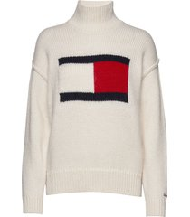 tjw tommy flag sweater turtleneck coltrui crème tommy jeans