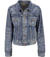 ralph lauren trucker jacket in denim with bear print
