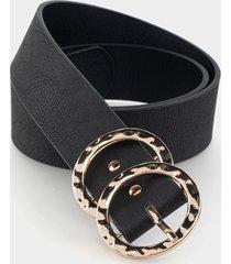 women's rosalie hammered double circle belt in black by francesca's - size: l