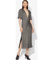 proenza schouler checkered jacquard short sleeve dress black/ecru 8