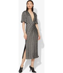 proenza schouler checkered jacquard short sleeve dress black/ecru 8
