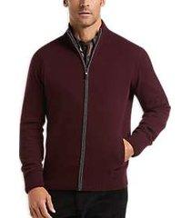 joseph abboud burgundy recycled cashmere zippered stripe cardigan sweater