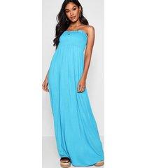 shirred bandeau maxi dress, turquoise