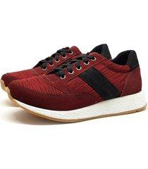sapatênis casual couro jogging stefanello andy vermelho