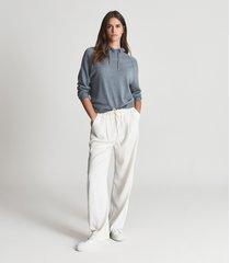 reiss bella - wool cashmere blend hoodie in blue, womens, size xl
