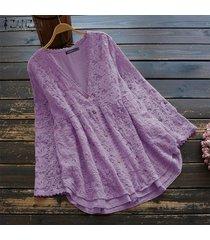 zanzea camisa de ganchillo de encaje de manga larga para mujer tops cuello en v blusa ahuecada tops tallas grandes -púrpura