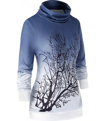 plus size cowl neck ombre tree sweatshirt