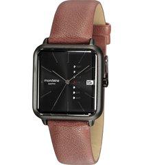 kit de relógio analógico masculino mondaine + porta cartão - 83369lpmvde1kz marrom