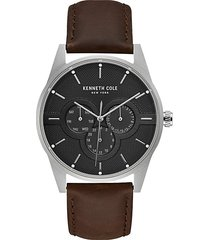 dress sport stainless steel & leather-strap watch