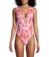 bcbgmaxazria women's tropical print one-piece swimsuit - pink - size 6