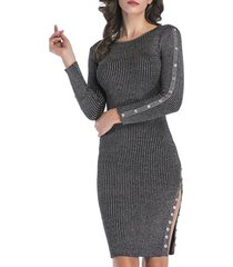 metallic thread ribbed buttons bodycon jumper dress