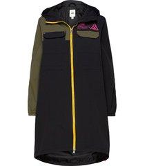 66 supply long anorak mte gevoerde lange jas zwart vans