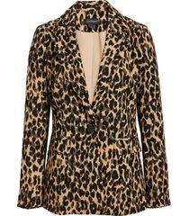 women's halogen one-button blazer, size small - brown