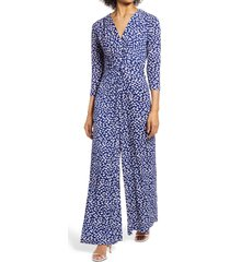 women's harper rose abstract dot long sleeve jumpsuit, size medium - blue