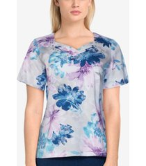 alfred dunner women's missy classics floral short sleeve t-shirt