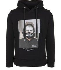 neil barrett man black marble vigilante series hybrid hoodie