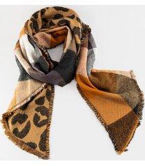 alandria leopard plaid scarf - leopard