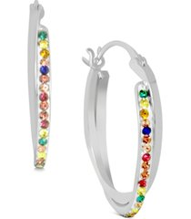 essentials small rainbow crystal double hoop earrings in fine silver-plate