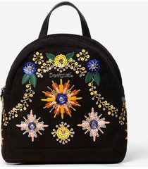 beaded and embroidered mini backpack - black - u