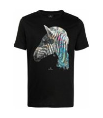 ps paul smith camiseta com estampa de zebra - preto