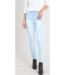 calça jeans feminina skinny cintura alta azul claro