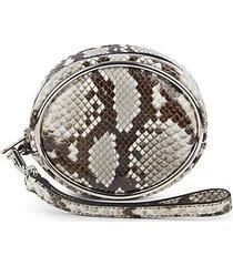 halo embossed-snakeskin leather wristlet