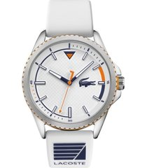 lacoste men's cap marino white silicone strap watch 44mm